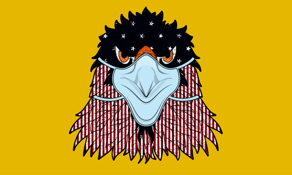 4th of July Quarantine Bald Eagle American Flag Virus Face Mask Artwork Funny American Eagle Surgical Mask Fourth of July Celebration Graphic Vector Illustration for Banner Sticker Print Gift Card