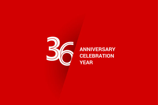 36 years anniversary, minimalist logo jubilee, greeting card. Birthday invitation. White space vector illustration on Red background - Vector
