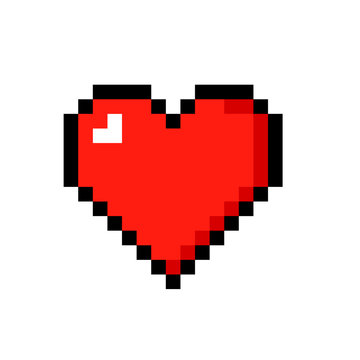 Pixel art heart icon. Clipart image isolated on white background