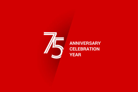 75 years anniversary, minimalist logo jubilee, greeting card. Birthday invitation. White space vector illustration on Red background - Vector