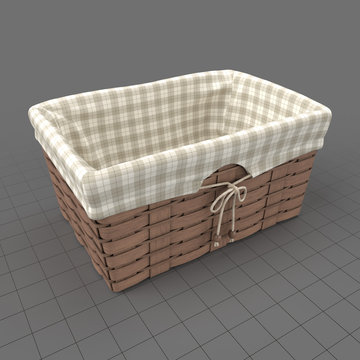 Picnic wicker basket with fabric