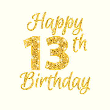 Happy birthday 13th glitter greeting card. Clipart image isolated on white background