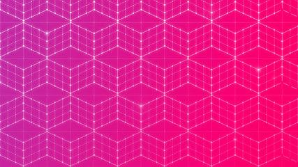 Seamless 3d cubes or blocks, data connection network on purple and pink background. Abstact geometric isometric projection in 4k resolution.