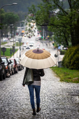 Woman with umbrella walking on street in city during rain