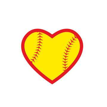 Heart softball ball icon. Clipart image isolated on white background