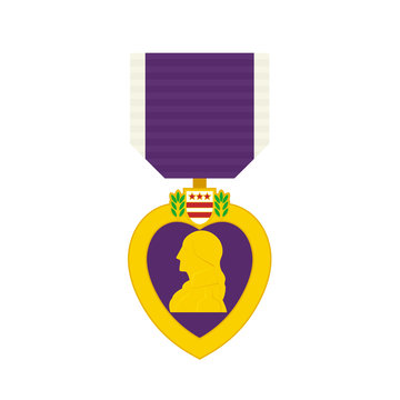 Military purple heart medal icon. Clipart image isolated on white background