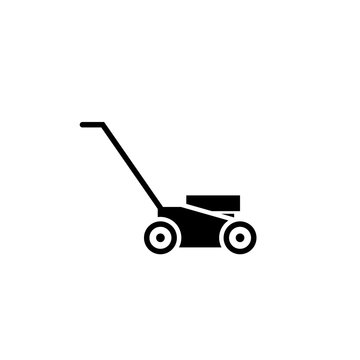 Lawn mower glyph icon. Clipart image isolated on white background