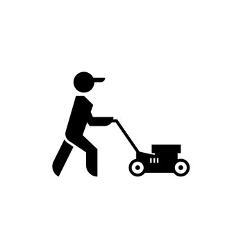 Lawn mower boy icon. Clipart image isolated on white background