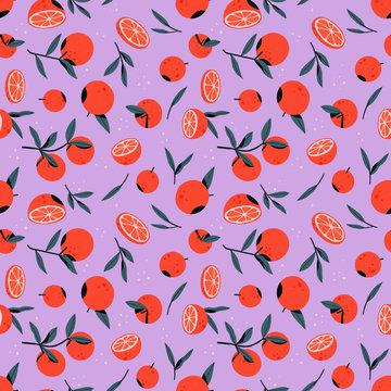 oranges on purple background pattern