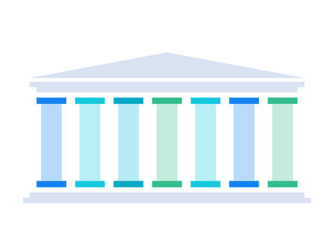 Seven pillars diagram. Clipart image isolated on white background