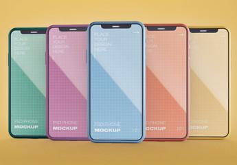Front View of 5 Smartphones Mockup