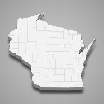 Wisconsin 3d map state of United States Template for your design