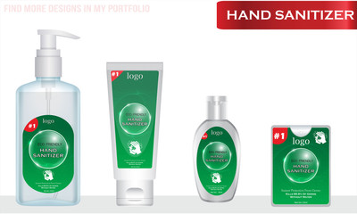 Wall Mural - Different types of Hand sanitizer with label design. Packaging design. Advertising of hand sanitizer.