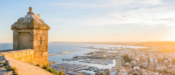 Alicante, Spain - January 10, 2019: Santa Barbara Castle on Mount Benacantil above Alicante, Valencia, Spain