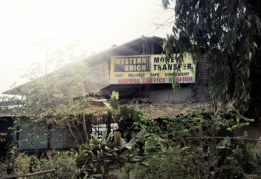 Goa, India - February 11, 2010: Western Union office in the Indian village