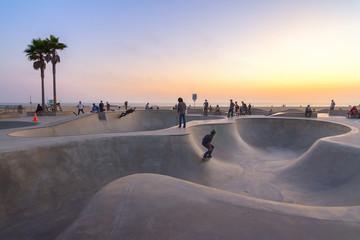 Skate board park in Venice beach at sunset, California, Usa