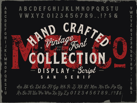 MFG Co. Hand Drawn Vintage Font Collection. Three different fonts. Display, Script and San Serif.