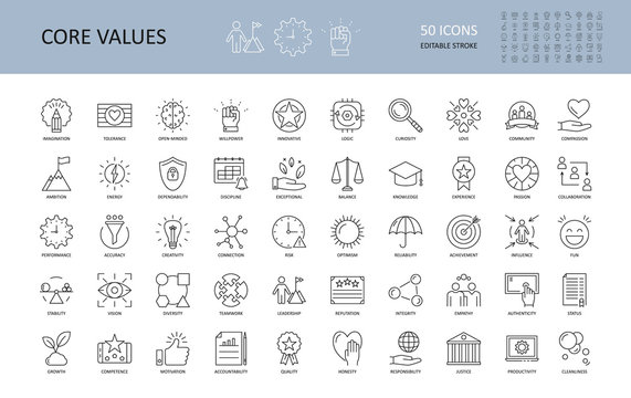 Vector icon core values. Set 50 icons with editable stroke. Values of business company and person. The logic of imagination tolerance willpower open-minded innovative. Curiosity community dependabilit