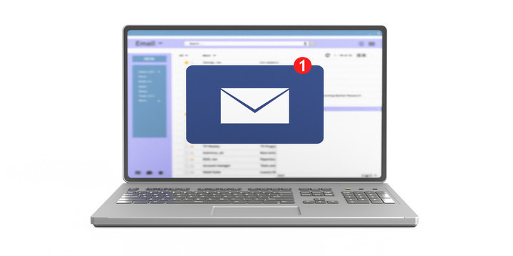 Email message inbox notification on laptop screen isolated on white background. 3d illustration