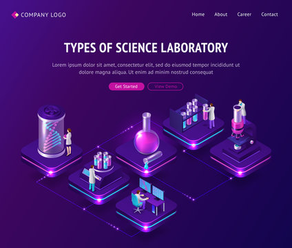 Vaccine development in laboratory isometric landing page, scientists working in lab with medical bottles and huge dna spiral projection on covid19 virus cell vaccination remedy, 3d vector web banner
