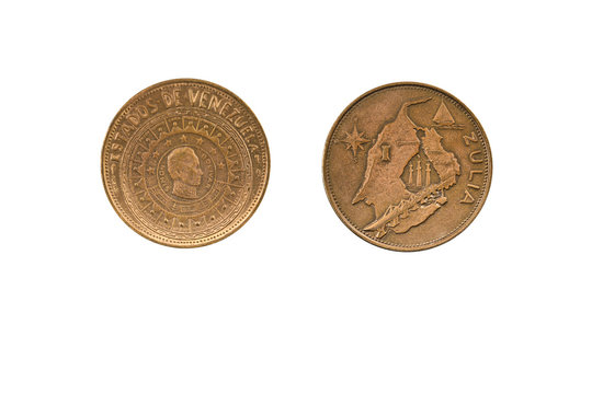 commemorative coin from the States of Venezuela series,bronze material,obverse and reverse side on white background