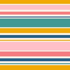 Modèle sans couture de rayures horizontales. Texture vectorielle simple avec des lignes fines et épaisses. Abstrait géométrique rayé dans des couleurs vives, jaune, vert sarcelle, bleu marine, rose. Conception de répétition moderne