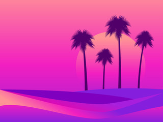 Tropical landscape with palm trees on a background of sea sunset. Colorful gradients in the style of the 80s. Retro futuristic style. Background for advertising, poster and banner. Vector illustration