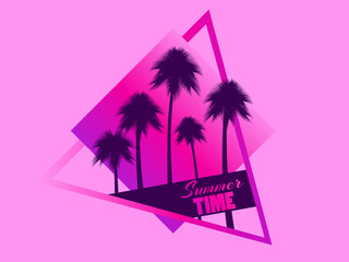 80s retro sci-fi palm trees on pink background. Retro futuristic cube with palm trees. Summer time. Synthwave and retrowave style. Vector illustration