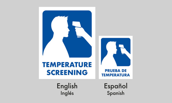 temperature screening signage, for casual (normal) places, mandatory sign, in two idioms spanish and english