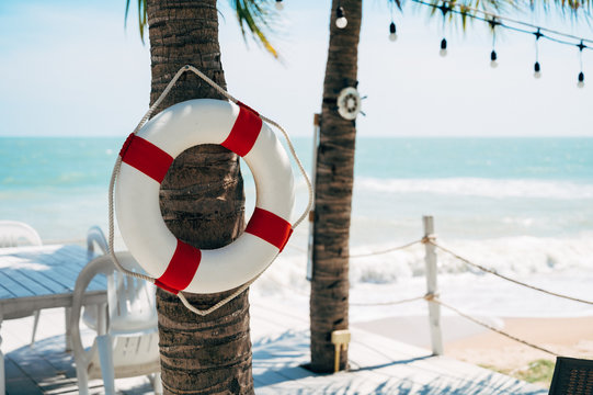 life buoy on beach