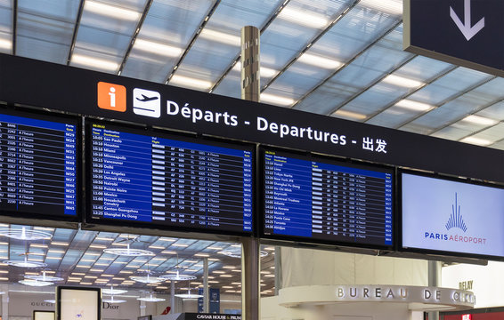 PARIS, FRANCE - NOVEMBER 4, 2018: Flight departures timetable at the Paris Charles de Gaulle Airport, one of the principal aviation centres of the world and the principal hub for Air France.