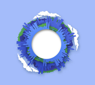 Paper cut city circle frame 3D papercut world view