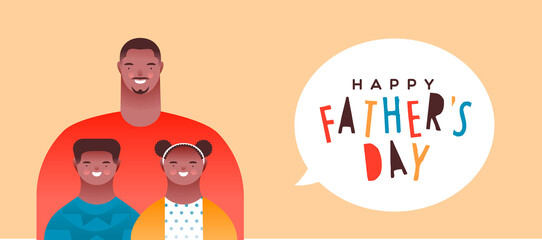 Happy Father's Day banner black dad and children