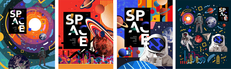 Fototapeta Space. Vector abstract illustrations of an astronaut, planets, galaxy, mars, future, earth and stars. Science fiction drawing for poster, cover or background  obraz