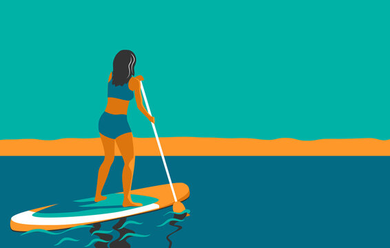 Woman standing on Board with a Paddle. Standup paddleboarding SUP. Sports Girl at sea, ocean. Stand up paddle surfing. Summer Activity on Water. Beach activities. Vector illustration in flat style.