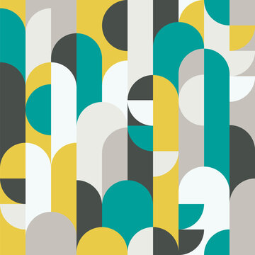 Abstract retro style seamless vector pattern with geometric shapes colored in yellow, green and grey. Modern geometrical pattern for textiles, fashion, wrapping paper, wallpaper.