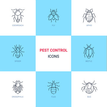 Pest control icon set in linear style.