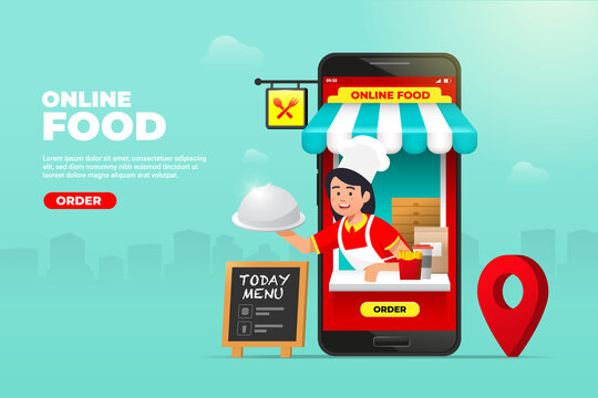 online food shopping on mobile phone. waiter with ready meals at hand service. fast food delivery order vector illustration.