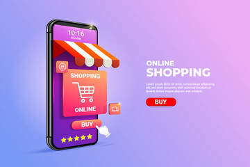Shopping Online on Mobile phone Application Concept illustration and Digital marketing promotion. 3d smartphone with store cart icon on Horizontal view.