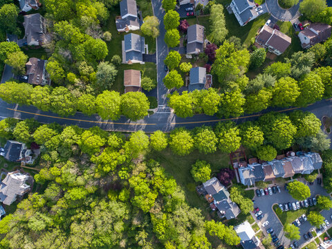 Top down aerial of a residential street in Rockville, Montgomery County, Maryland.