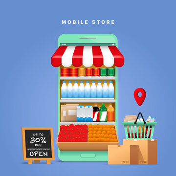 Online Grocery Store shopping concept with a mobile phone and food and beverage products lined the shelves.  digital market promotion for food supply by online ordering.