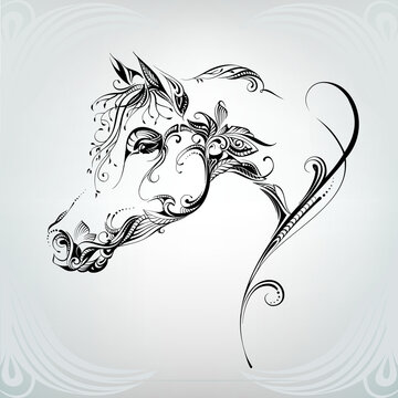 The head of a horse in a vegetable ornament