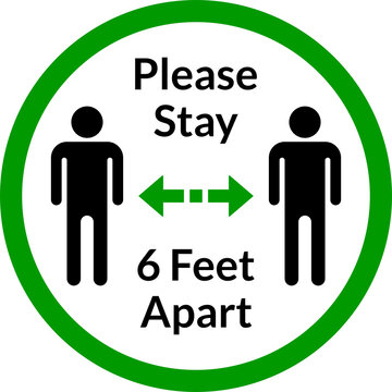 Please Stay 6 Feet Apart Social Distancing Keep Your Distance Icon. Vector Image.