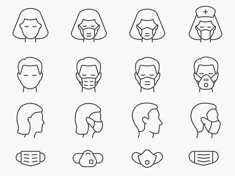 Medical face mask line icons set. Black vector illustration. Editable stroke.