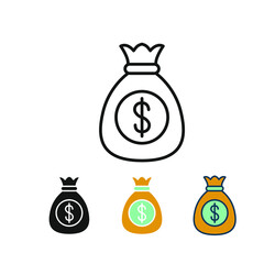 Sack of dollars to repay loan, savings money and wealth. Cash money in bag for direct payment and finance investment. Money bag line icon. Vector illustration. Design on white background. EPS 10