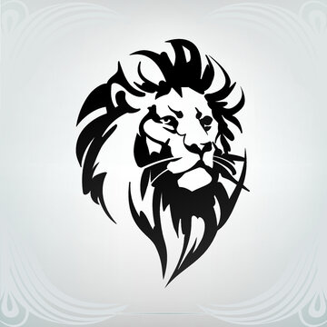 Vector silhouette of a lion head