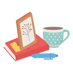 sweet home picture frame book pen and coffee cup