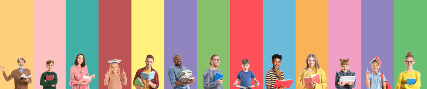 Different people with books on colorful background