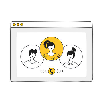 Videoconference with colleagues. Corporate video call, meeting, distant discussion, talking online, teamwork during quarantine concept. Flat hand drawn line vector illustration in flat cartoon style