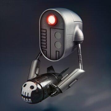 Bombot — War robot / military drone character design  #robot #drone #war #military #bomb #weapon #skull #character #design #blender #blender3d #b3d #zbrush #artwork